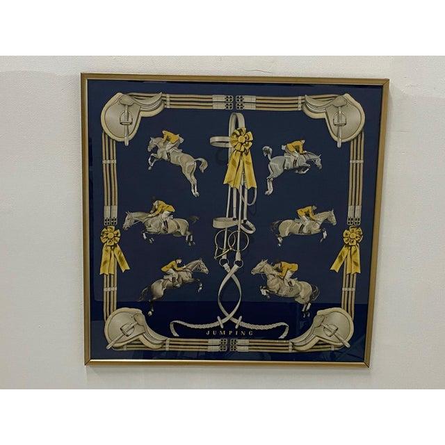 Framed Vintage Hermes Scarf in Navy Blue and Gold For Sale - Image 9 of 9