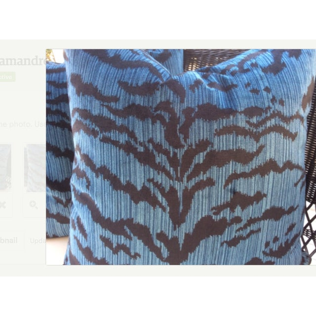 "Italian Scalamandre ""Le Tigre"" Ocean Blue Pillows - a Pair For Sale - Image 3 of 4"