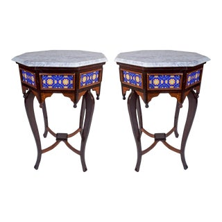 1970s Marble, Tile and Rosewood Side Tables - a Pair For Sale