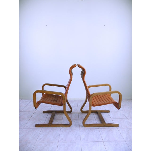 Danish Modern Mid-Century Modern Thonet Bentwood Cantilever Lounge Chairs - a Pair For Sale - Image 3 of 10