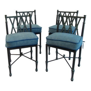"Vintage Woodard ""Landgrave"" Coll Cast Aluminum Outdoor Dining Chairs - Set of 4 For Sale"