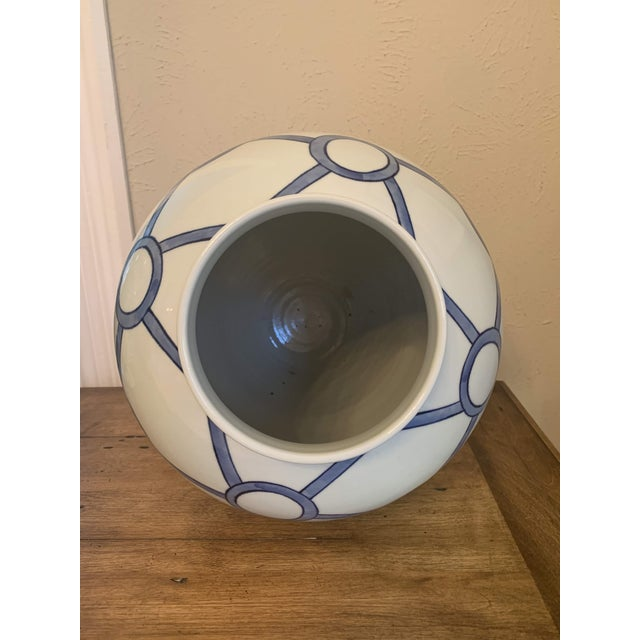 Blue and White Linked Circles Porcelain Temple Jar For Sale - Image 9 of 13