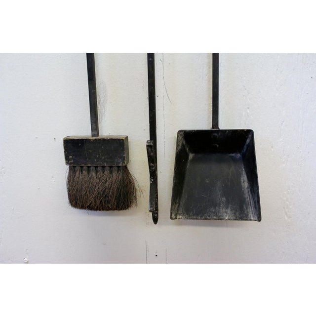 Mid-Century Modern Wall Mounted Brass and Iron Fire Tools For Sale - Image 9 of 10