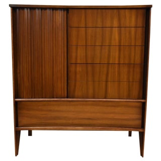 Mid-Century Curved Front Walnut Dresser For Sale