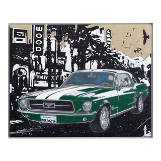 Ford Mustang Retro Inspired Car Original Artwork by Carl Smith ''Instant Classic'' For Sale