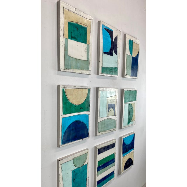 """Abstract """"Notes to My Younger Self"""" 9 Panels Encaustic Collage Installation by Gina Cochran For Sale - Image 3 of 13"""