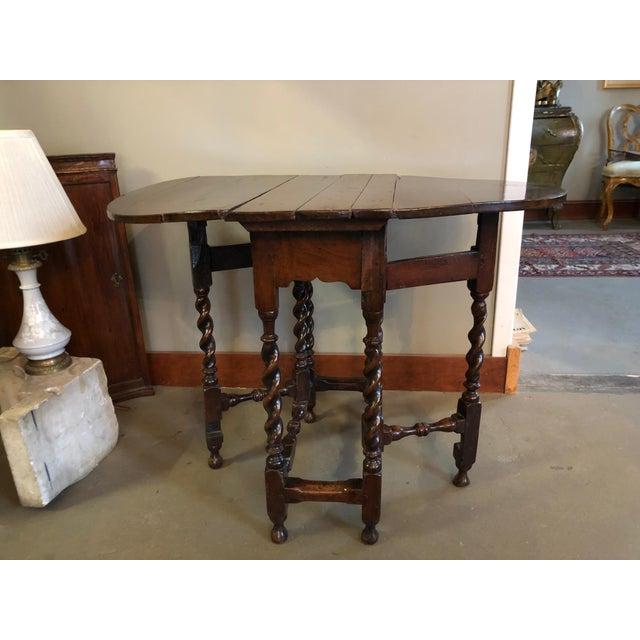 Wood 17th Century Circa 1680 English Barley Twist Gate Leg Table For Sale - Image 7 of 13