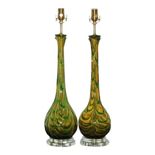 Vintage Murano Glass Table Lamps Gold Green For Sale
