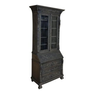 19th Century English Renaissance Weathered Oak Secretary Bookcase For Sale