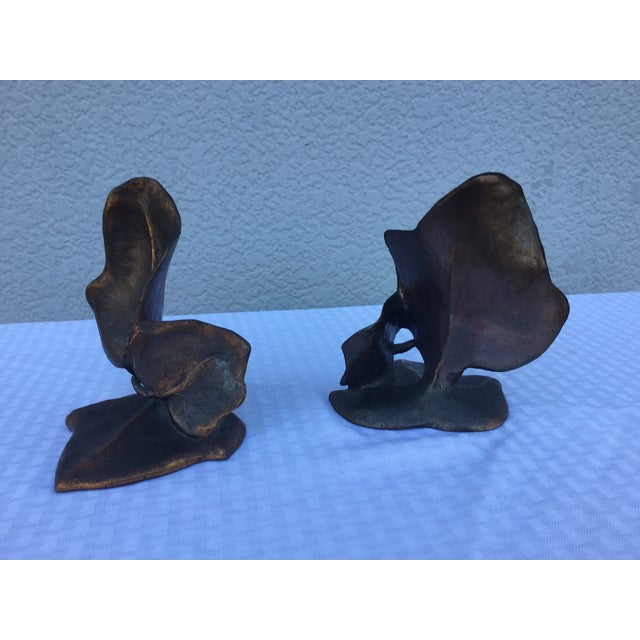 1960's Modern Dodge Inc Brass Leaf Bookends - 2 - Image 3 of 11