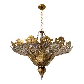 Moorish Moroccan Brass Pasha Chandelier For Sale