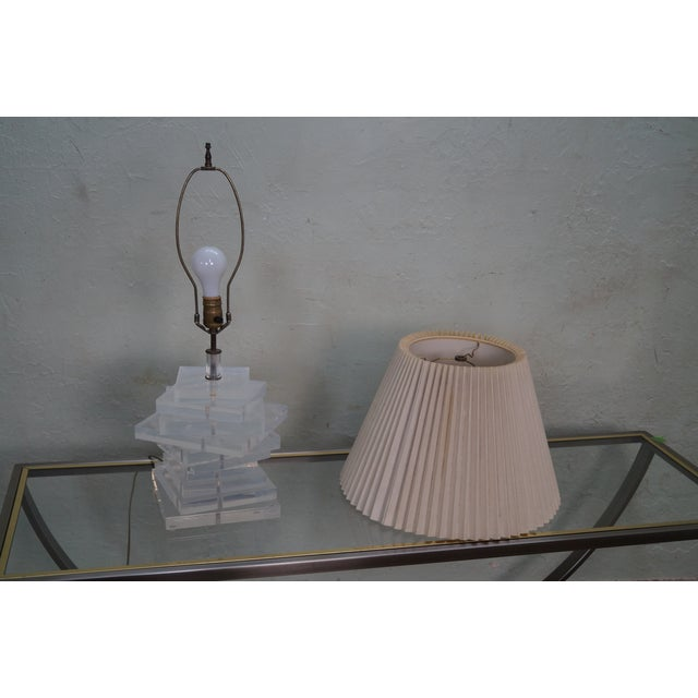 Mid-Century Stacked Lucite Lamps - Pair For Sale - Image 9 of 10