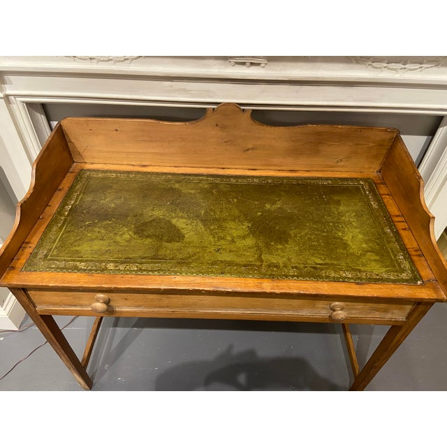19th Century Antique Pine Writing Desk With Leather Top For Sale - Image 5 of 9