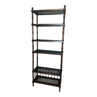 Dark Wood Hollywood Regency Faux Bamboo Bookshelf With Cane Shelving For Sale