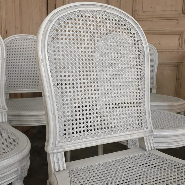 Early 20th Century Antique French Louis XVI Painted Dining Chairs-Set of 8 For Sale - Image 4 of 13