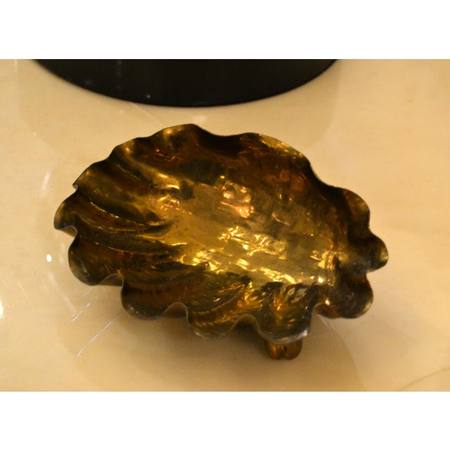 Italian Golden Hand-Hammered Bronze Clam Footed Catchall Bowl, Italy For Sale - Image 12 of 13