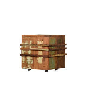 Reclaimed Wood Cubic Stool on Casters