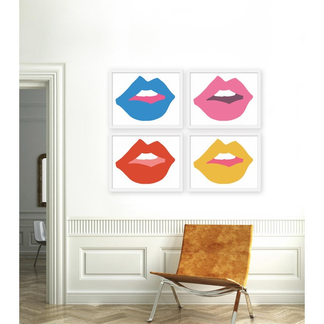"""Set of 4 giclée prints on textured fine art paper with white frames. Set of 4 measures 40"""" x 32""""; individual framed print..."""