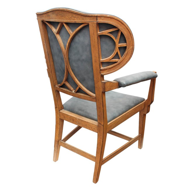 Traditional Interior Crafts Blue Leather Chair For Sale - Image 3 of 9