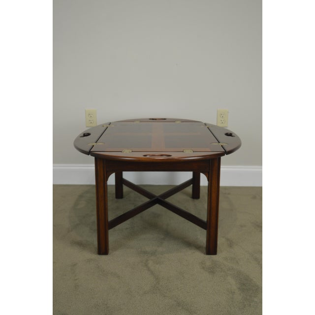 Gold Chippendale Style Mahogany Butlers Coffee Table For Sale - Image 8 of 13