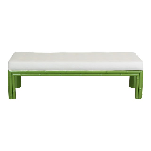 Mid-Century Apple Green Faux Bamboo Bench With Linen Cushion, Green Bamboo Bench, Cream Linen Bench For Sale