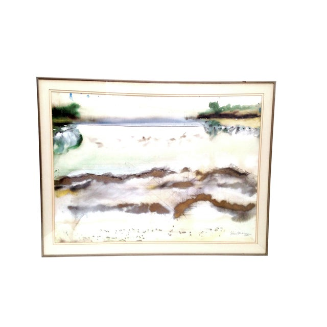 1980s Vintage Framed Abstract Watercolor Painting Signed By Artist