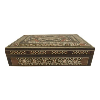 Middle Eastern Moorish Mother of Pearl Inlay Jewelry Box For Sale