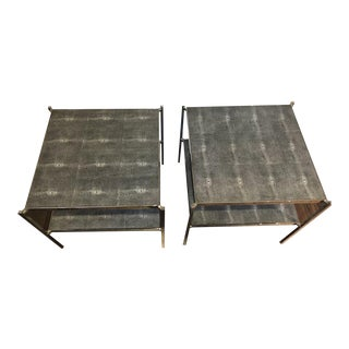 Vaughan Etagere Gray Shagreen Side Tables - A Pair For Sale