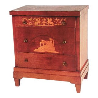20th Century Neoclassical Style Marquetry and Walnut Commode For Sale
