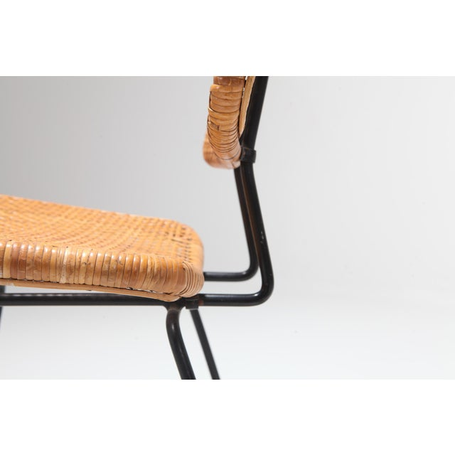 Brown Cane and Black Metal Tropical Dining Chair From the 50s For Sale - Image 8 of 10