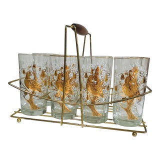 Mid-Century Modern Set of 8 Gold White Partridge High Ball Libbey Glasses in Teak Brass Caddy For Sale