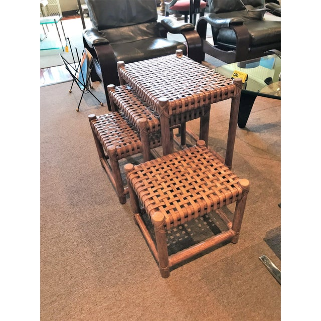 1980s Rustic Modern McGuire Rattan and Laced Leather Nesting Tables or Stools - Set of 4 For Sale In Miami - Image 6 of 12