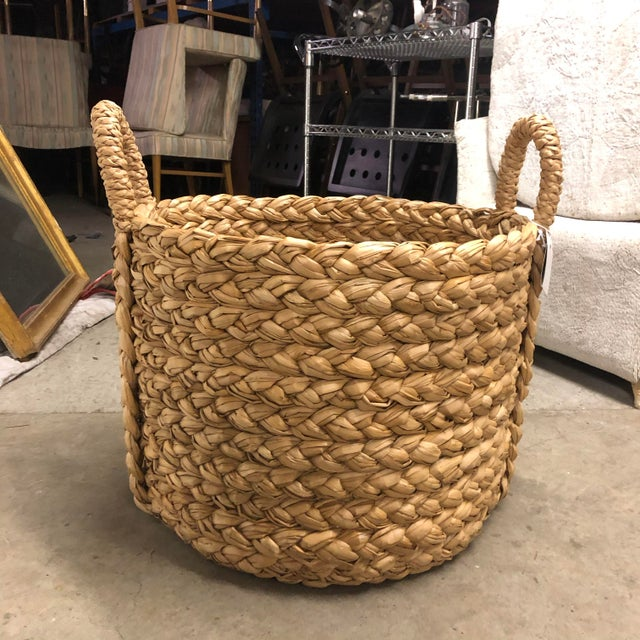 2010s Braided Wicker Basket With Braided Handle For Sale - Image 5 of 5