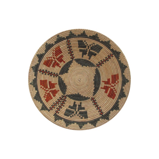 Native American Basket with Butterflies - Image 1 of 4