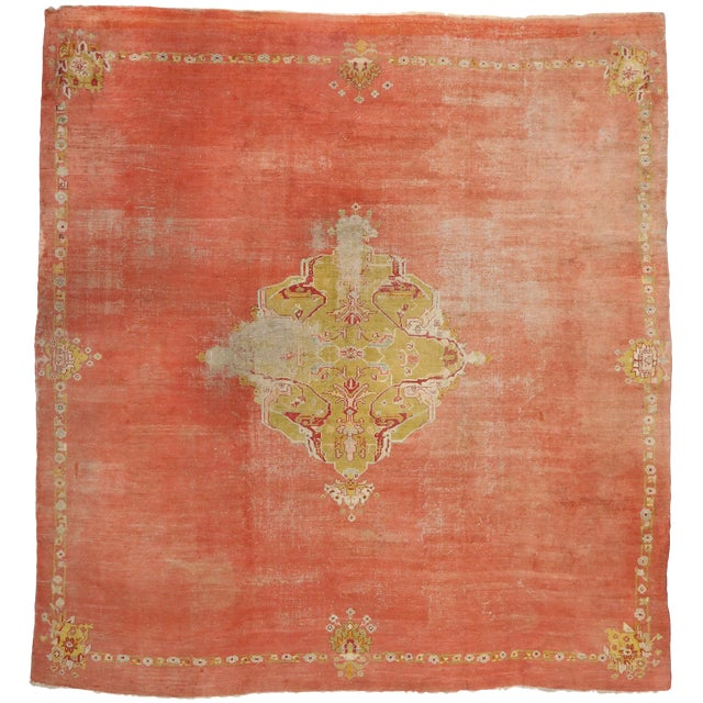 Distressed Antique Turkish Oushak Rug - 14'07 X 15'05 For Sale