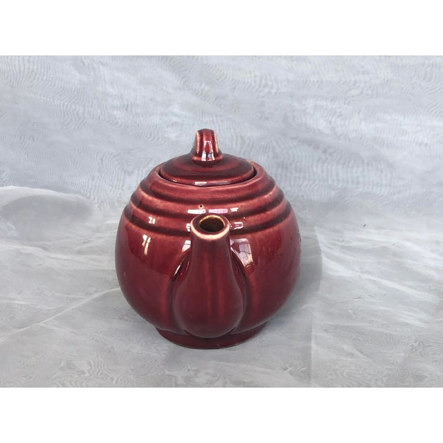 Art Deco Vintage 1940s Usa Pottery Teapot For Sale - Image 3 of 13