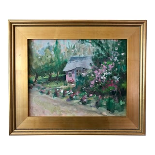 Vintage American Impressionist Oil Painting Pink Cottage Floral Garden by Harry Barton For Sale
