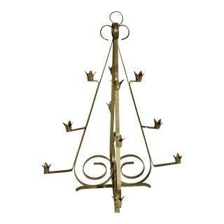 Vintage Mid Century Metal Shaped Tree Candle Holder Candelabra Avocado Green 12 Taper Candles For Sale