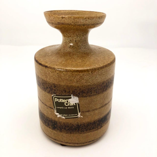 Mid-Century Pottery Craft California Brown on Brown Stoneware Bud Vase For Sale - Image 12 of 13