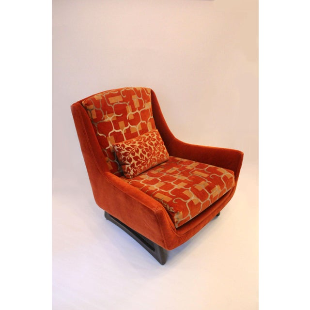 Adrian Pearsall 1960s Adrian Pearsall Orange Velvet Chair For Sale - Image 4 of 5