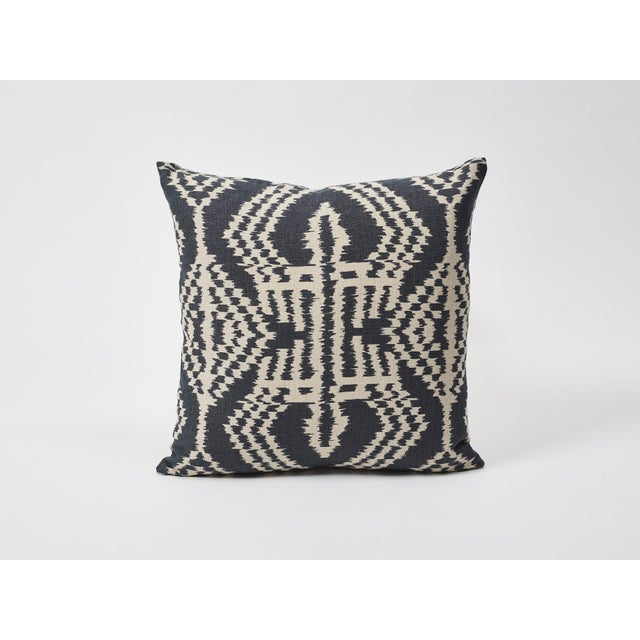 Schumacher Asaka Ikat Linen Print Double-Sided Pillow For Sale In New York - Image 6 of 9