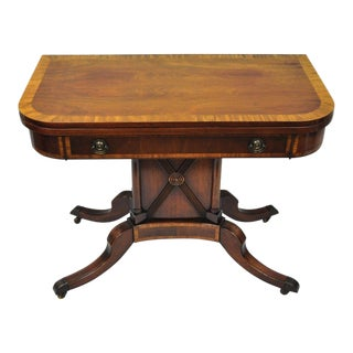 Karges Banded Mahogany Regency Style Extension Dining Table Flip Top Game Table For Sale