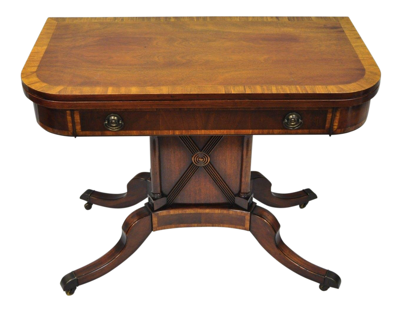 Karges Banded Mahogany Regency Style Extension Dining Table Flip Top Game  Table