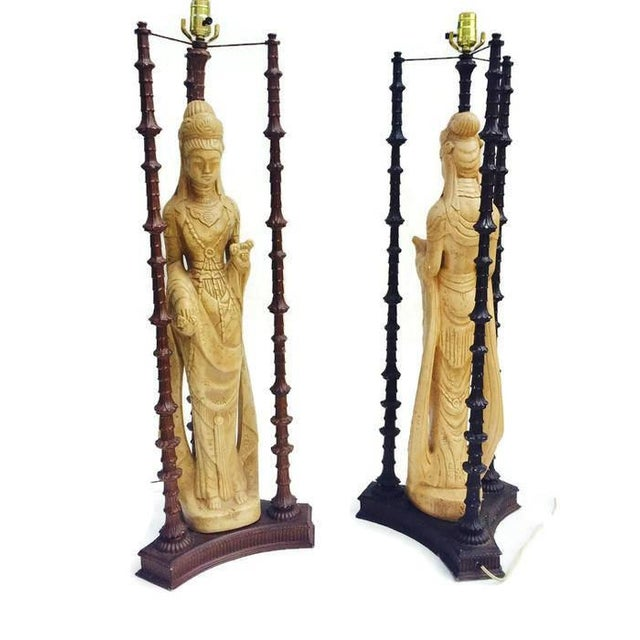 "Iconic Mid Century Chinoiserie Lamps Guan Yin Goddess Lamp Tony Duquette Style 38"" - A PAIR For Sale - Image 9 of 10"