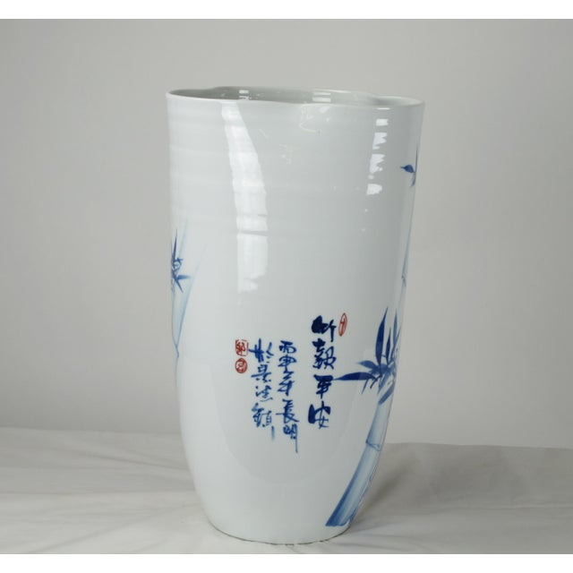 2010s Chinoiserie Blue & White Porcelain Vase For Sale - Image 5 of 8