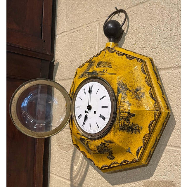 Mustard 19th Century, French Napoleon III Painted Tole Wall Clock For Sale - Image 8 of 12