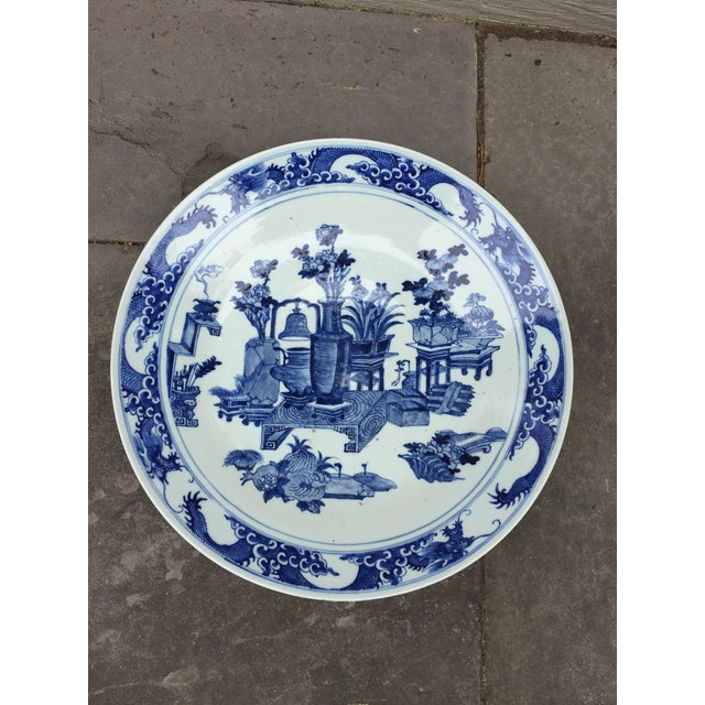 Ceramic 1970's Chinoiserie Blue China Platter Charger For Sale - Image 7 of 7