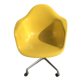1980s Herman Miller Yellow Fiberglass Dat Eames Desk Chair For Sale