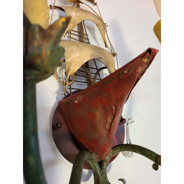 Red Vintage Italian Tole Ship Sconces by Florentia - a Pair For Sale - Image 8 of 12
