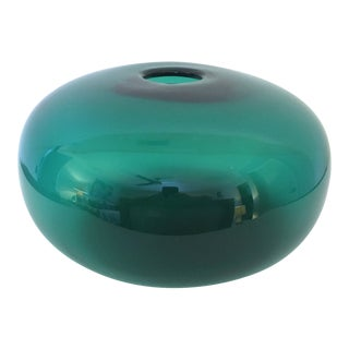 1970s Green Glass Saucer Shaped Vase For Sale
